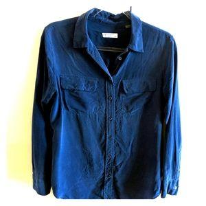 EQUIPMENT Navy blue brushed silk button down
